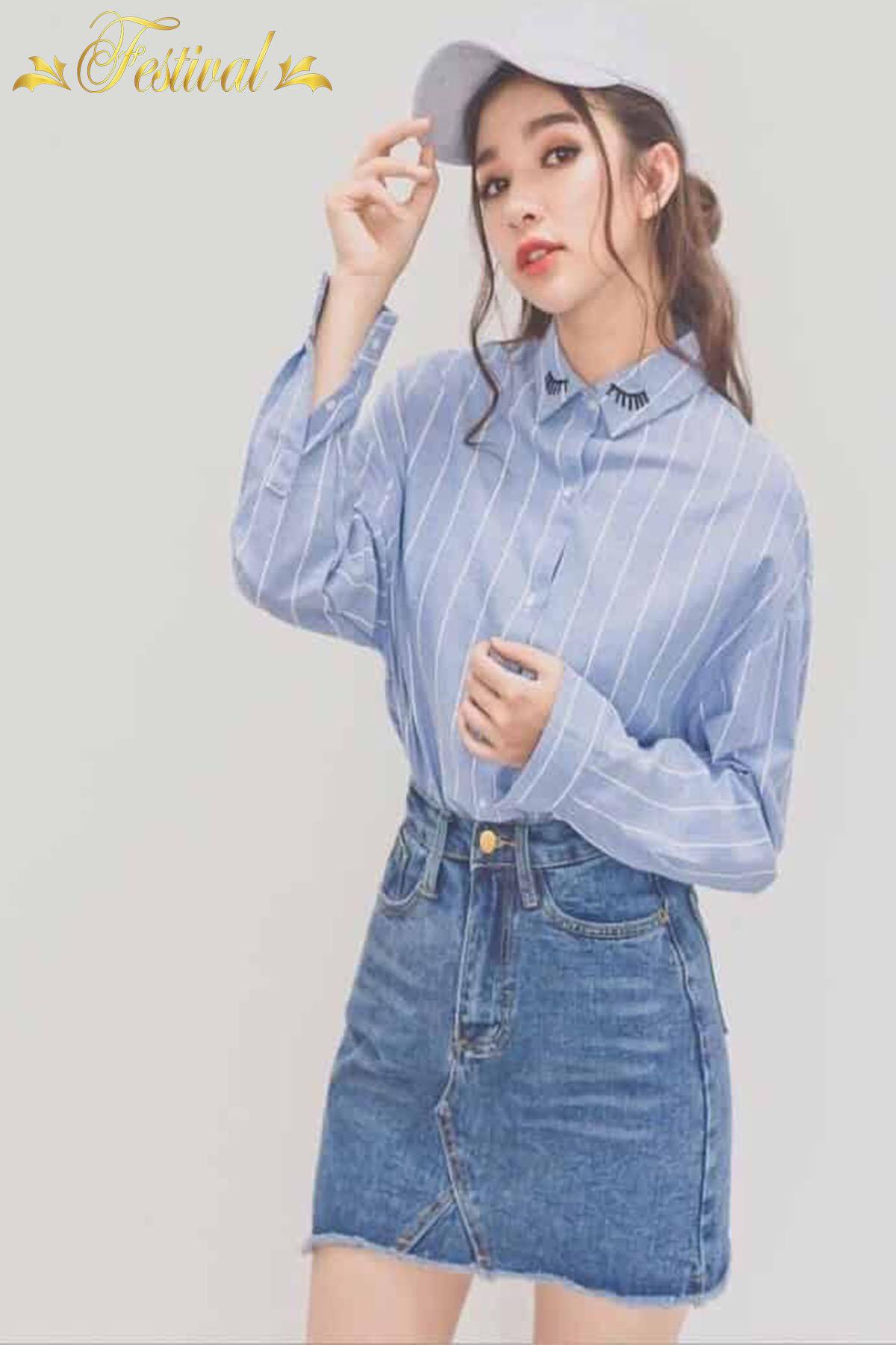 Mix áo sơ mi với chân váy jeans - Ảnh 1