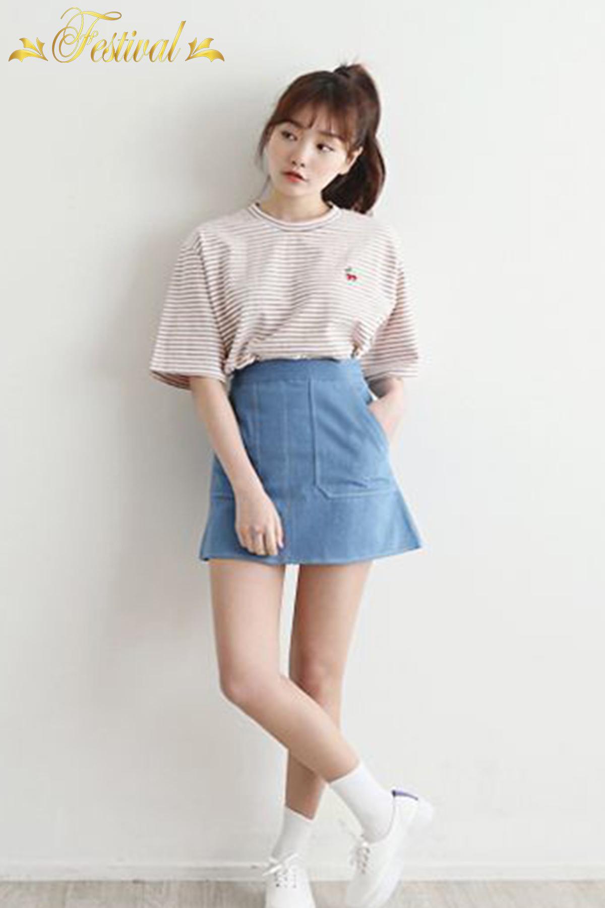 Mix áo thun với chân váy jeans - Ảnh 2