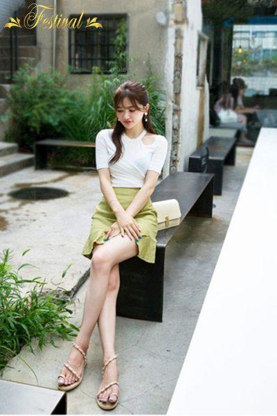 Mix chân váy đơn sắc xinh xắn