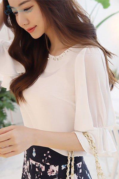 Set Áo Kiểu Cổ Thuyền Chân Váy Hoa - Ảnh 1