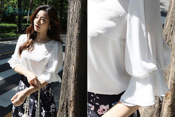 Set Áo Kiểu Cổ Thuyền Chân Váy Hoa - Ảnh 5