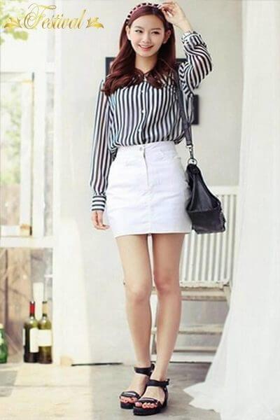 Trang phục 2 màu trắng đen