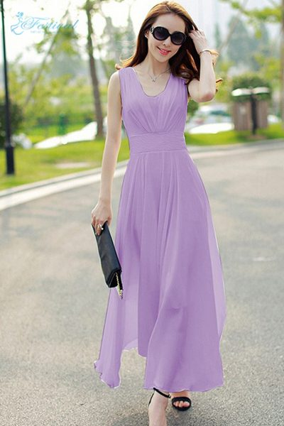 Váy voan màu tím dáng maxi - Mẫu váy voan đẹp nhất 2019
