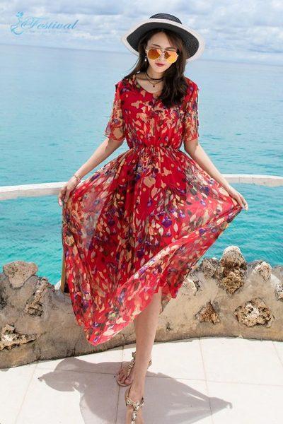 Váy voan maxi dài ngắn - Mẫu váy voan đẹp nhất 2019