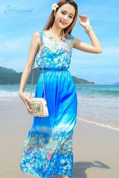 Váy voan maxi màu xanh biển - Mẫu váy voan đẹp nhất 2019