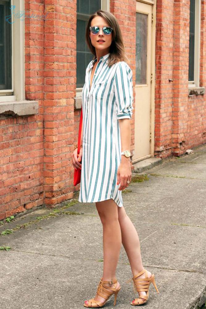 Những kiểu váy sơ mi dáng rộng mặc vào cuối tuần - Ảnh 2