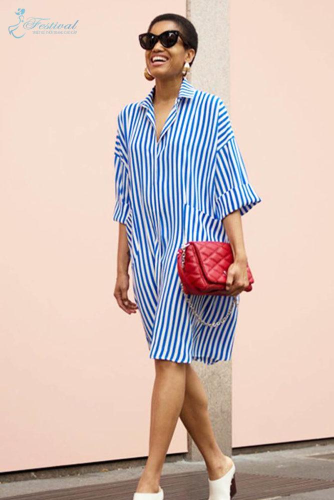 Những kiểu váy sơ mi dáng rộng mặc vào cuối tuần - Ảnh 7