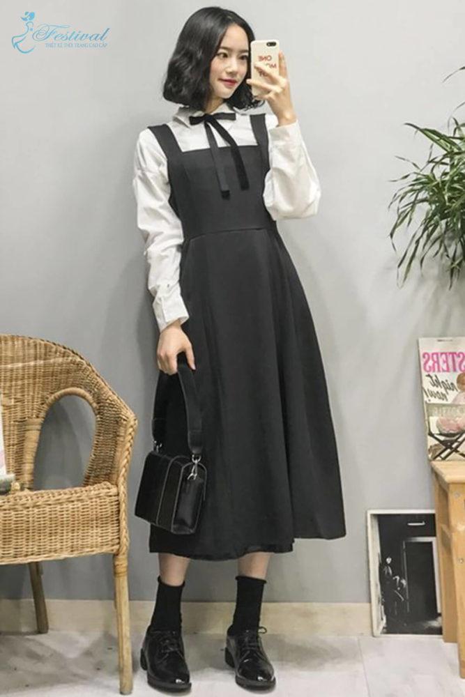 Phối đồ với váy hai dây phù hợp với mùa thu - Ảnh 10
