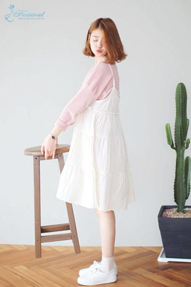 Phối đồ với váy hai dây phù hợp với mùa thu - Ảnh 7