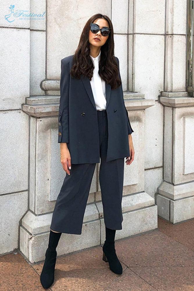 Suit phối vest hiện đại - Ảnh 1 - Thời trang dạo phố thu đông 2018