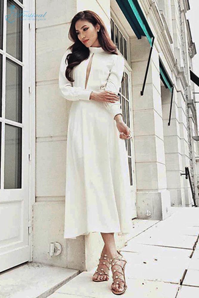 Váy trắng cổ điển - Ảnh 3 - Thời trang dạo phố thu đông 2018