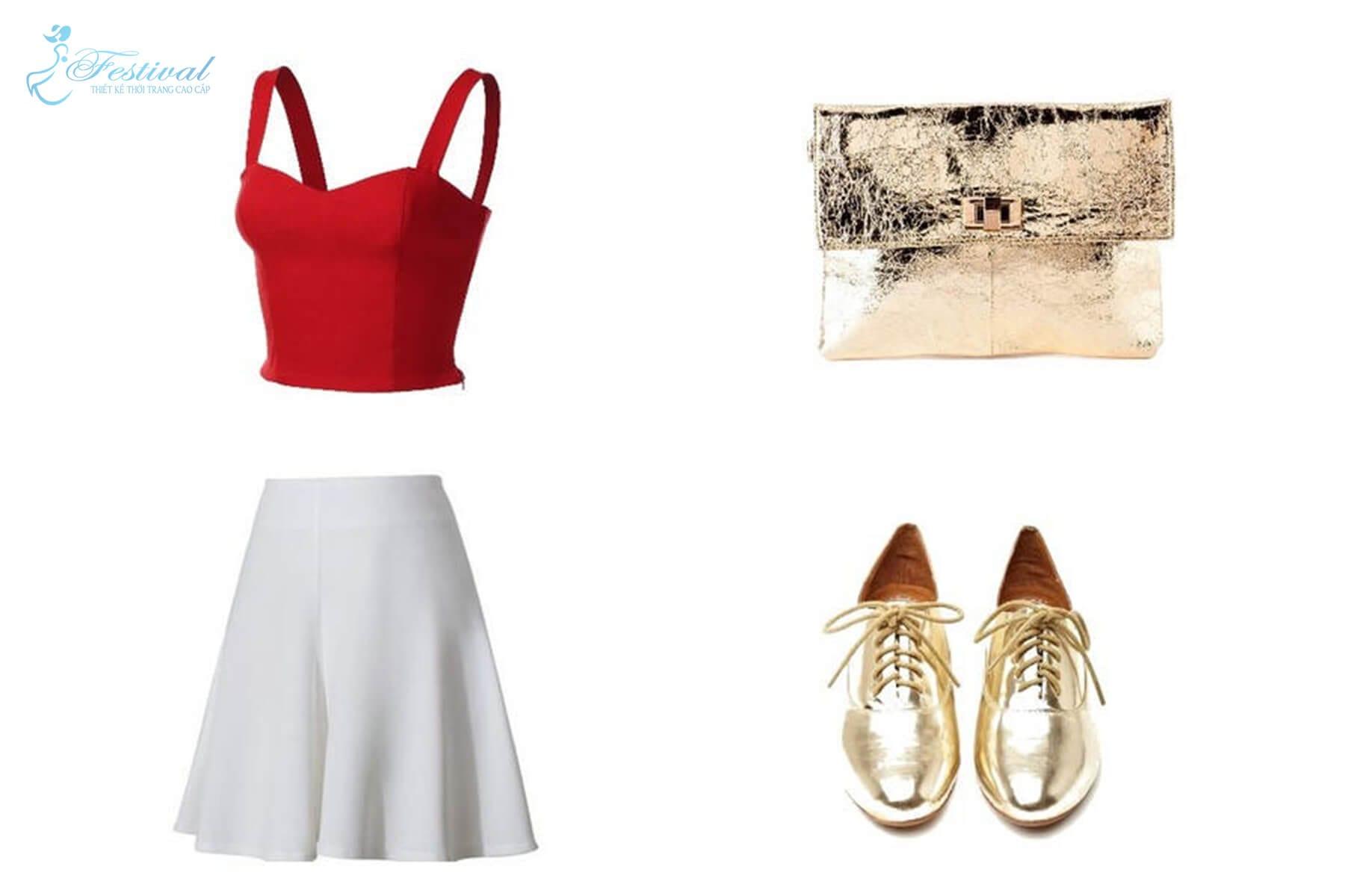 Áo croptop với váy cạp cao đi kèm phụ kiện ánh kim - Mặc đẹp mùa noel - Mẹo mix đồ đi chơi giáng sinh cực xinh - Ảnh 2