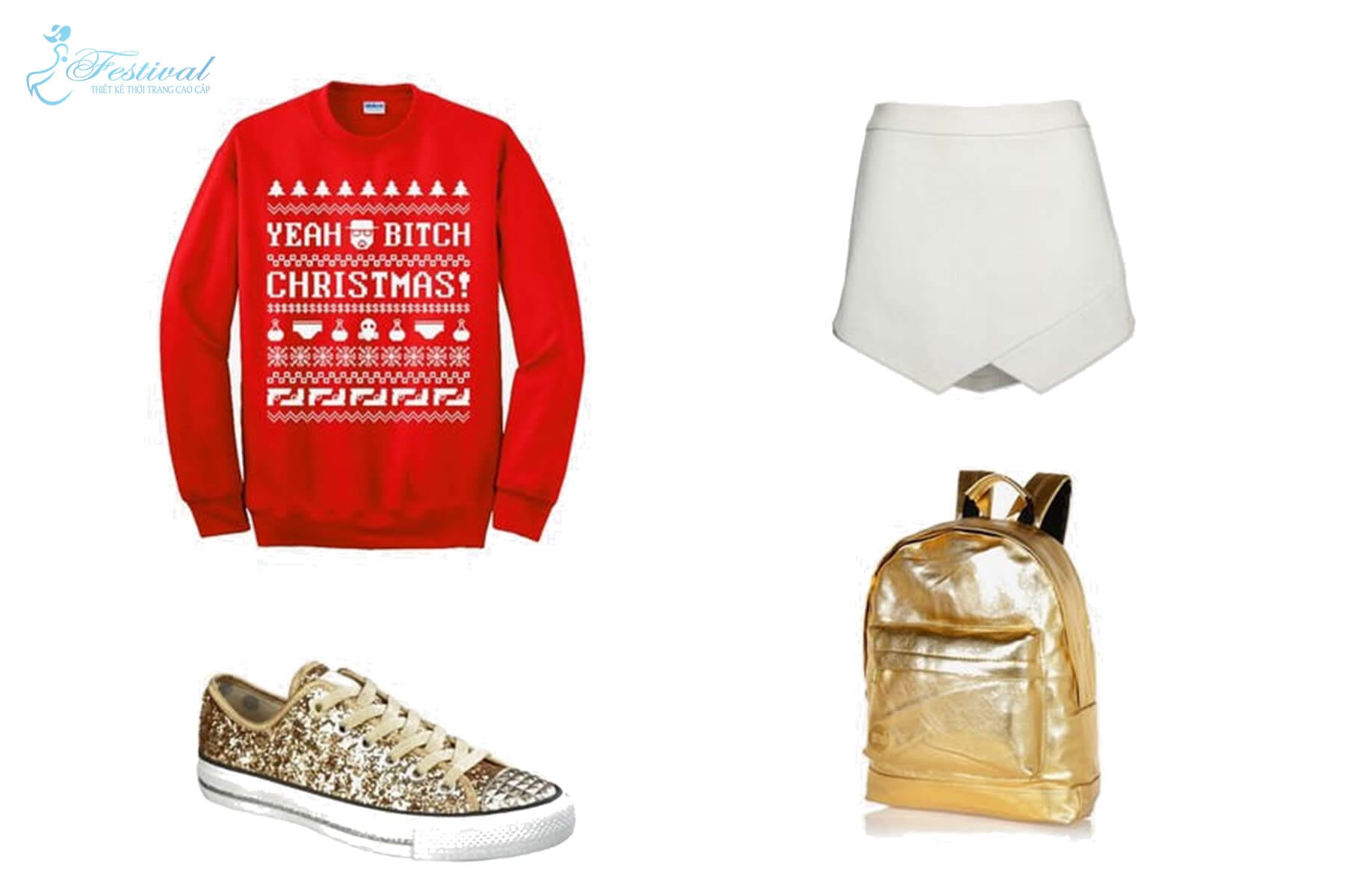 Áo len thun tone đỏ kèm họa tiết giáng sinh cho hợp mùa kết hợp với skort + giày sneaker lấp lánh + ba lô tone vàng bắt mắt. Mặc đẹp mùa noel - Mẹo mix đồ đi chơi giáng sinh cực xinh - Ảnh 3