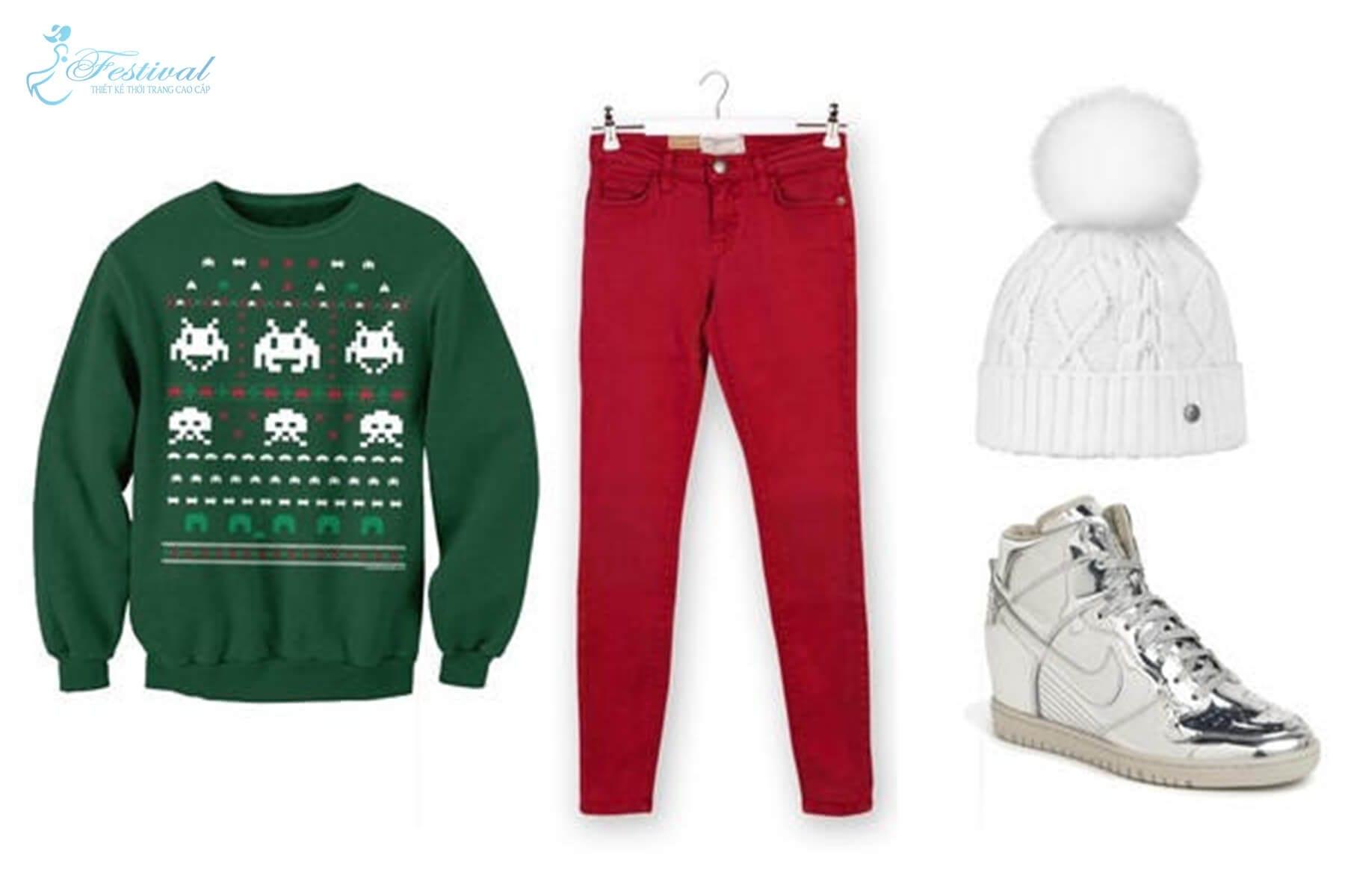 Áo len thun tone xanh kết hợp với skinny jeans màu đỏ, wedge sneaker ánh kim và một chiếc mũ len với pom-pom màu trắng cực đáng yêu. Mặc đẹp mùa noel - Mẹo mix đồ đi chơi giáng sinh cực xinh - Ảnh 4