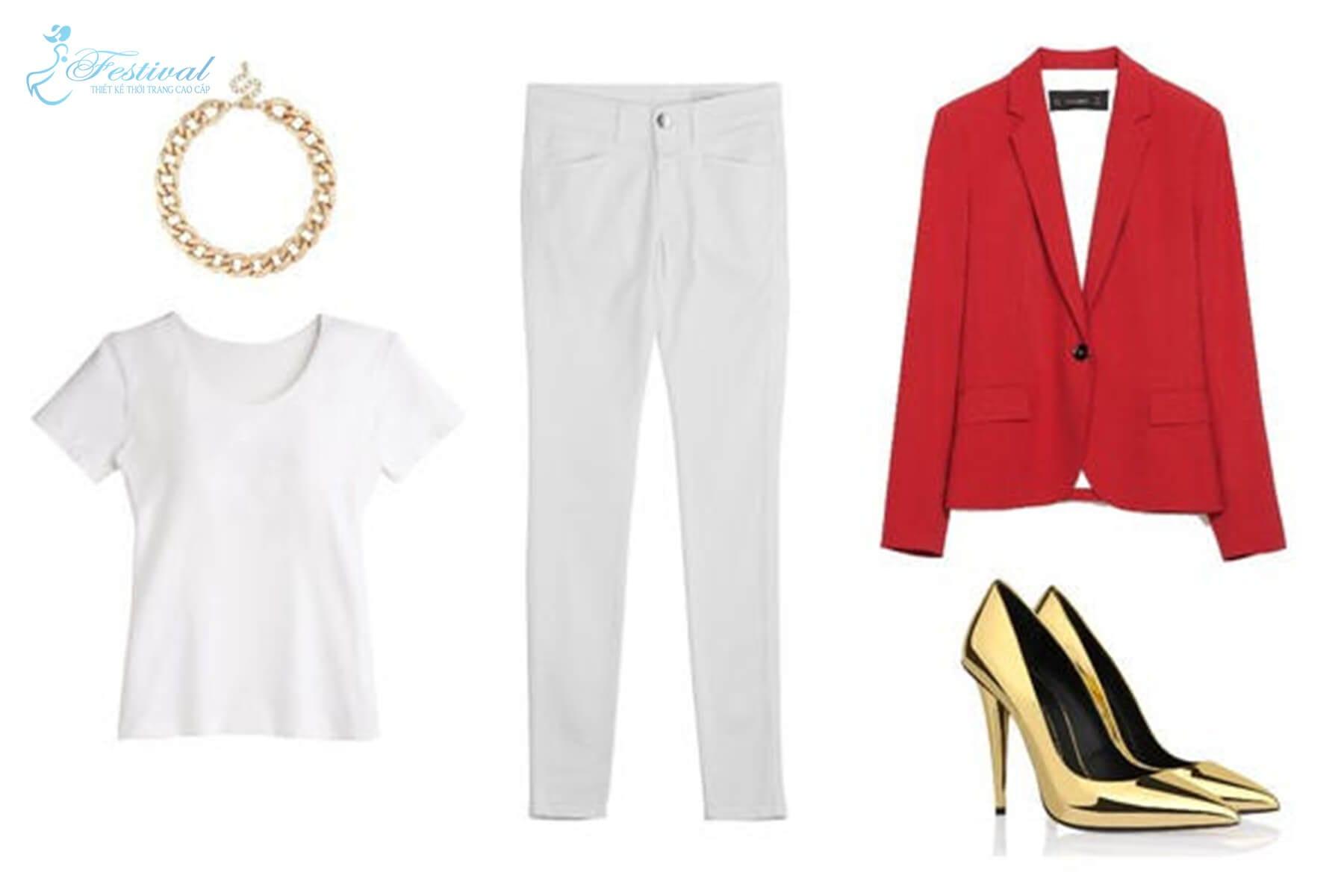Công sở với vest mỏng, skinny và áo phông đi kèm phụ kiện ánh kim - Mặc đẹp mùa noel - Mẹo mix đồ đi chơi giáng sinh cực xinh - Ảnh 6
