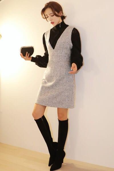 Váy liền + boots - Ảnh 3 - 3 ngày Tết, các nàng cứ mặc 6 combo này là đảm bảo xinh lung linh