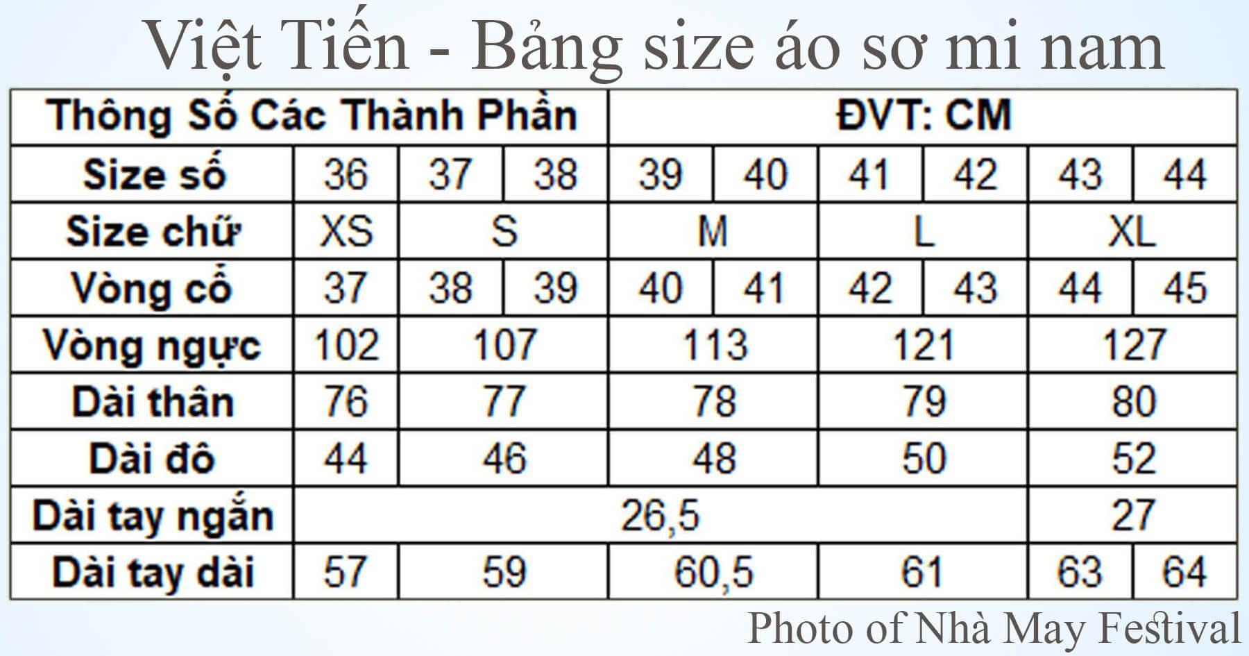 Tham khảo bảng size áo sơ mi nam của Việt Tiến