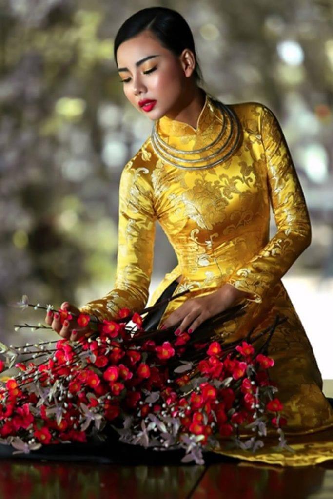 Áo dài gấm - Hình ảnh áo dài truyền thống việt nam - Ảnh 2