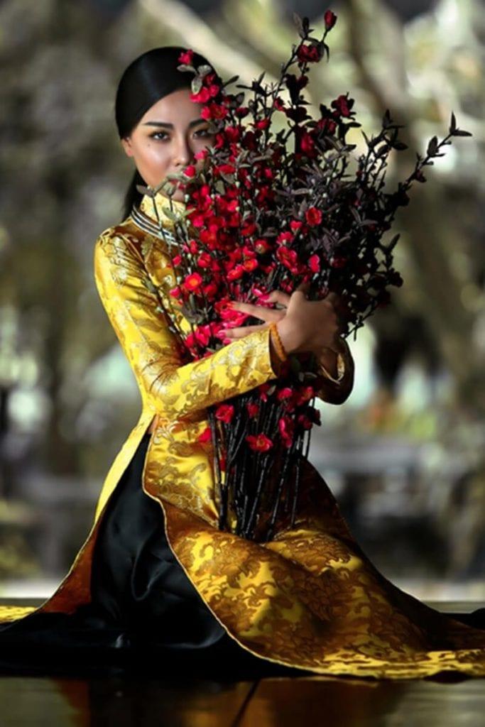 Áo dài gấm - Hình ảnh áo dài truyền thống việt nam - Ảnh 3
