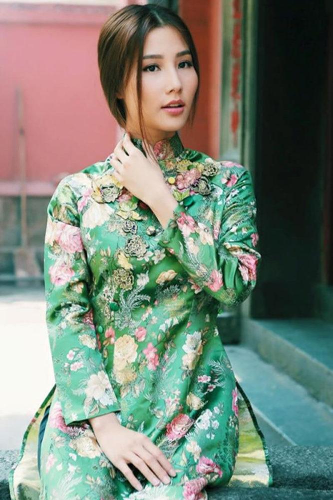 Áo dài in họa tiết - Ảnh 3 - Hình ảnh áo dài truyền thống việt nam