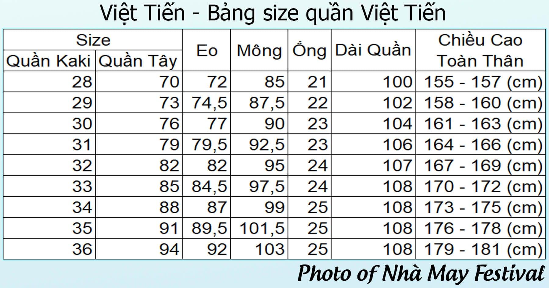 [Tham khảo] Bảng size quần Việt Tiến chuẩn nhất