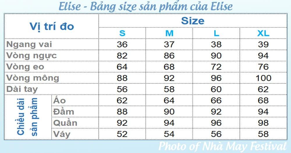 Bảng size áo, quần, đầm, váy, áo khoác của thời trang Elise