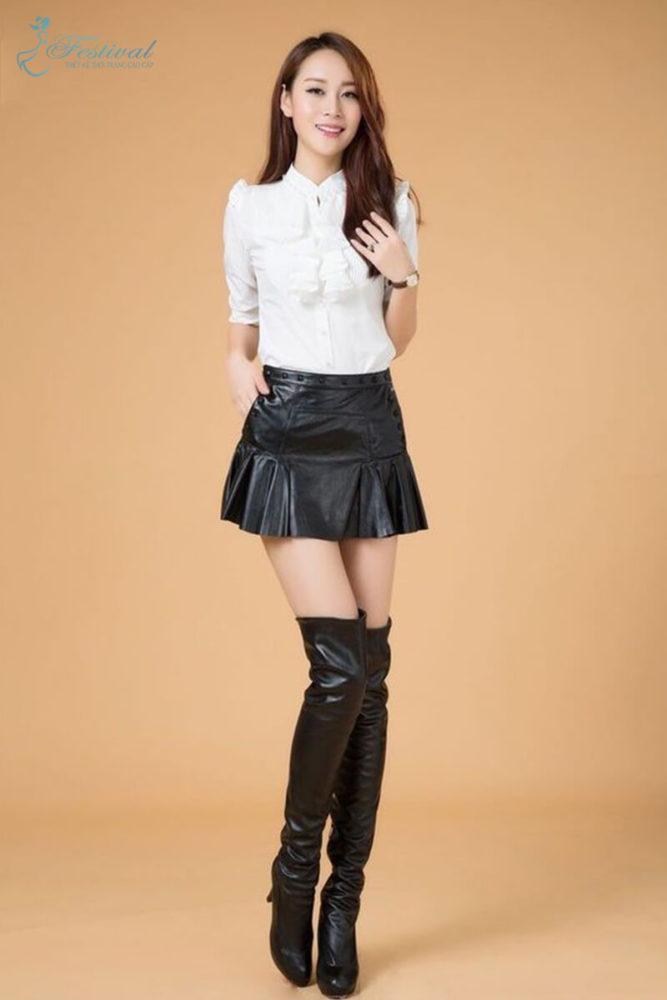 Chân váy xòe da bóng - Bí quyết mặc đồ da bóng cho cô nàng lịch thiệp