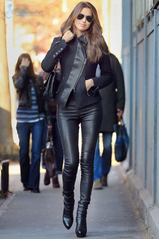 Set áo khoác và quần dài da bóng - Bí quyết mặc đồ da bóng cho cô nàng lịch thiệp