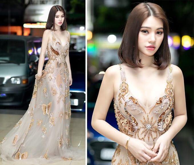 Jolie Nguyễn tỏa sáng trong chiếc váy đính kết cầu kỳ.
