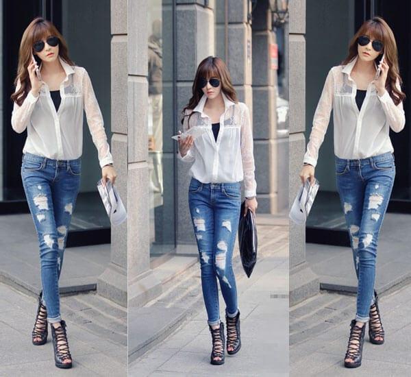 Học cách tự chế quần jeans rách