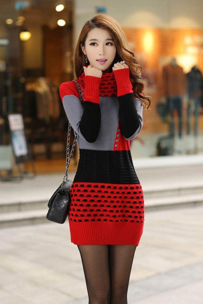 Đầm len cũng làm nàng quyến rũ cho mùa Đông