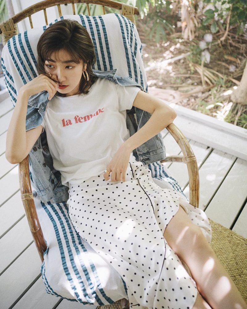 Áo phông + Chân váy midi đi du lịch mùa hè - Ảnh 2