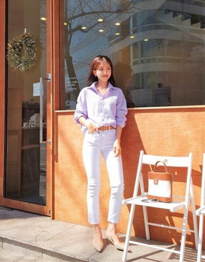 Mix áo sơ mi dài tay oversize cùng quần jean
