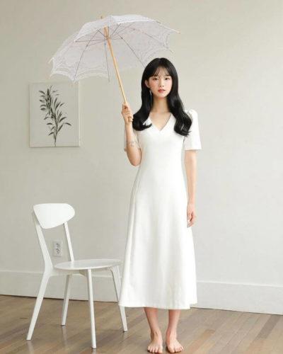 Đầm full trắng nhẹ nhàng nhưng thanh thoát cổ tim cực nữ tính