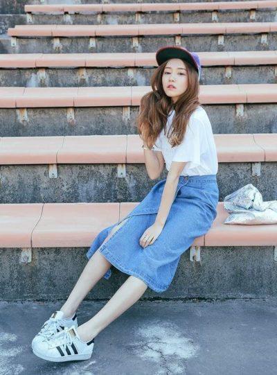 Chân váy midi jean dành cho những cô nàng chân dài - Ảnh 4