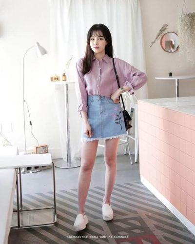 Chân váy jean thêu hoa mix áo sơ mi, thanh lịch khi đi học, đi làm