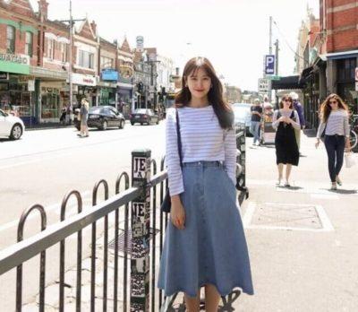 Chân váy midi jean dành cho những cô nàng chân dài - Ảnh 1