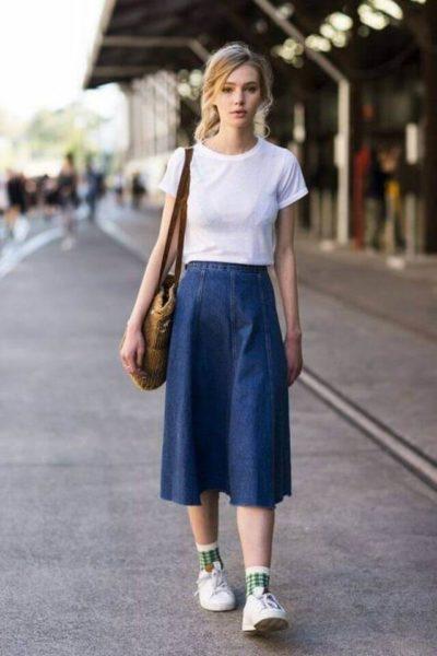 Chân váy midi jean dành cho những cô nàng chân dài - Ảnh 2