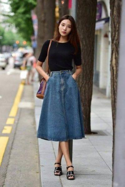 Chân váy midi jean dành cho những cô nàng chân dài - Ảnh 3