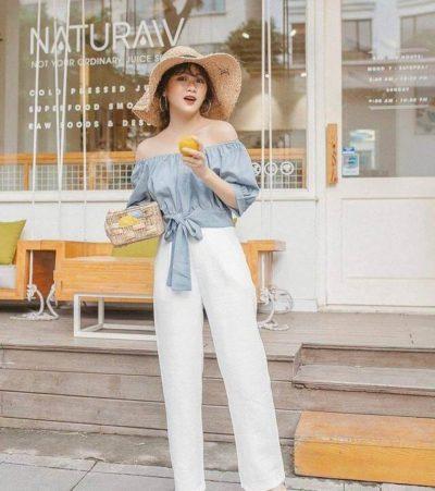 Áo nơ buộc eo cùng quần suông trắng ống rộng