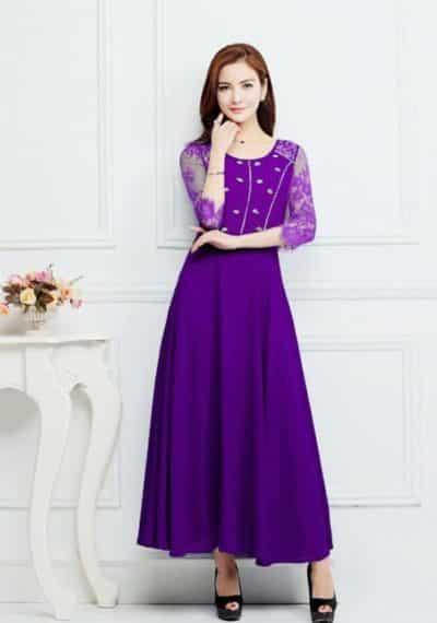 Chị em trung niên có thể chọn mẫu đầm màu tím thanh lịch