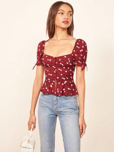 Áo blouse nhún eo bèo - Ảnh 2