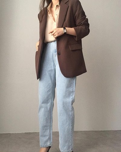 Áo blazer + Quần baggy jeans - Ảnh 1