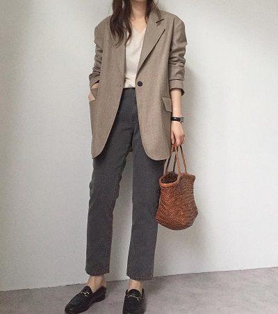Áo blazer + Quần baggy jeans - Ảnh 2