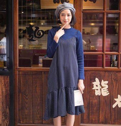 Phong cách Vintage: Váy yếm đuôi cá phối với áo phông