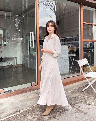 Sơ mi + Váy xòe dáng dài tông trắng