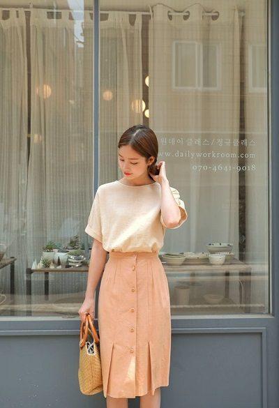 Áo phông + Váy xòe mùa thu