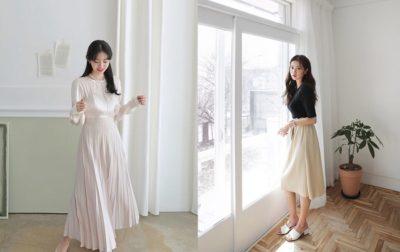 Phối đồ với chân váy dài xinh đúng điệu như gái Hàn