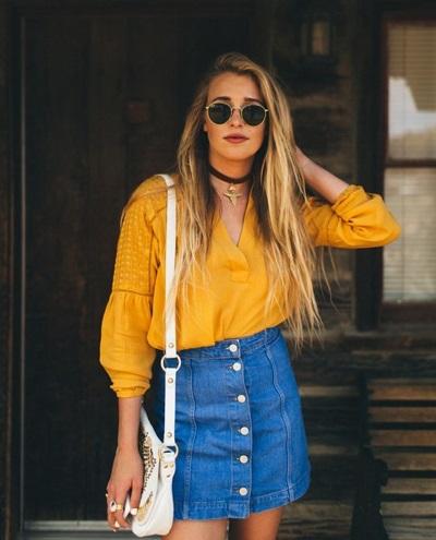 Bộ đôi hoàn hảo 'áo sơ mi' và 'chân váy denim' cho cô nàng cá tính thêm xinh đẹp hơn