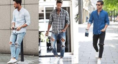 Trang phục nam: áo phông/ áo sơ mi - quần jean - giày thể thao